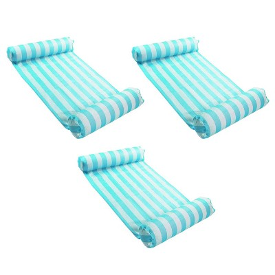 Magic Time International 91613VM Inflatable PVC Vinyl Striped Hammock Chair Pool Float, Teal and White with Double Inflatable Tubes (3 Pack)
