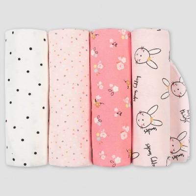 Gerber Baby Girls' 4pk Ballerina Flannel Blanket Set - Pink