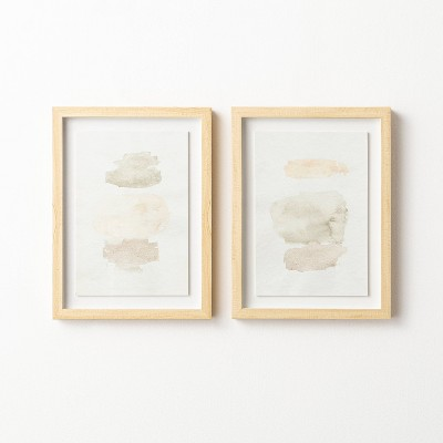 """(Set of 2)12"""" x 16"""" Watercolor Abstract Framed Wall Arts - Threshold™ designed with Studio McGee"""