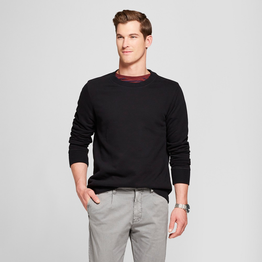 Men's Standard Fit Long Sleeve Sensory Friendly Crew Neck Sweatshirt - Goodfellow & Co Black L