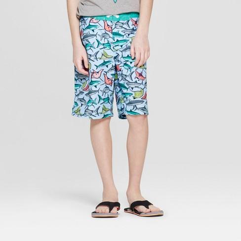 Boys' Shark School Print Swim Trunks - Cat & Jack™ Blue - image 1 of 3
