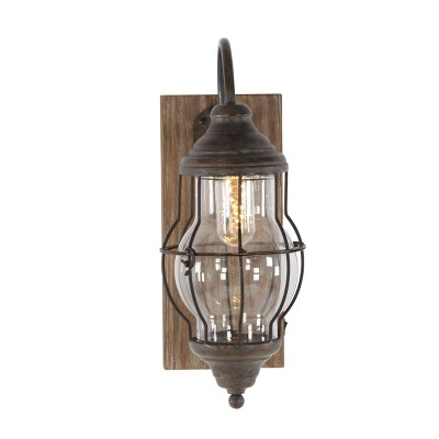 """5"""" x 17"""" industrial Metal and Wood Wall Sconce Brown - Olivia & May"""