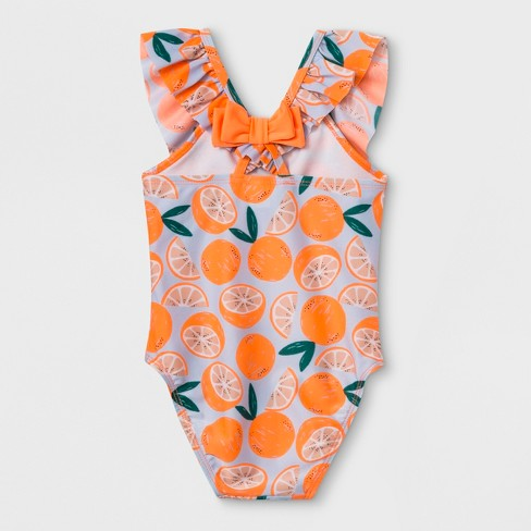 cf84bc86a9 Baby Girls  Flutter Sleeve One Piece Swimsuit - Cat   Jack™ Orange   Target