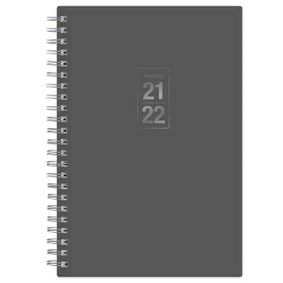 "2021-22 Academic Planner 5"" x 8"" Frosted Wirebound Daily/Monthly Solid Gray - Blue Sky"