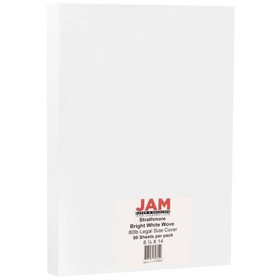 JAM Paper Legal 80lb Cardstock - 8.5 x 14 Coverstock - Bright White Wove Strathmore - 50 Sheets