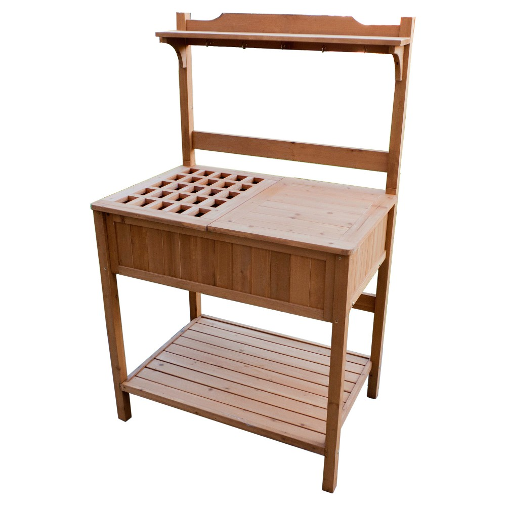 Potting Bench With Recessed Storage - Natural - Merry Products