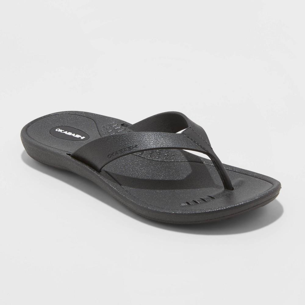 Image of Women's Breeze Sustainable Flip Flop Sandals - Okabashi - Black L(9.5-10.5), Women's, Size: Large(9.5-10.5)