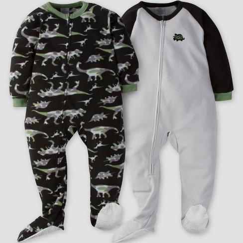 fa493f0aa Gerber® Toddler Boys  2pk Dino Camo Micro Fleece Blanket Sleeper - Gray 3T