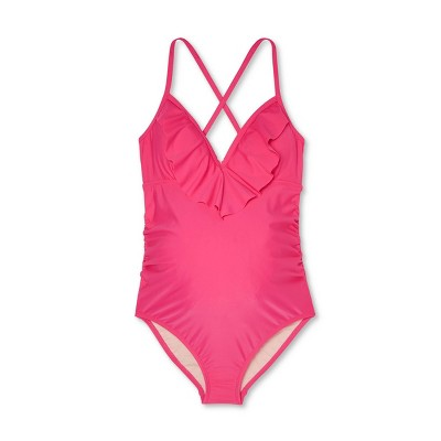 Maternity Flounce Neckline One Piece Swimsuit - Isabel Maternity by Ingrid & Isabel™ Pink