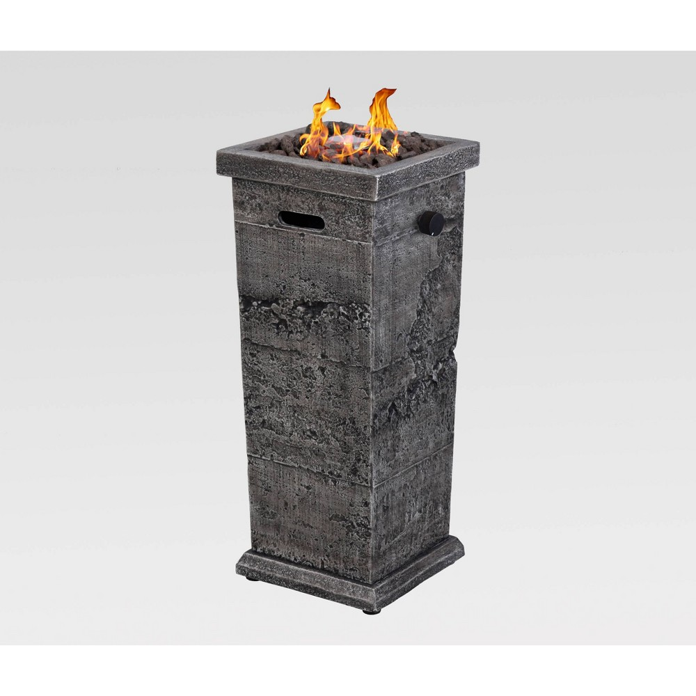Image of Outdoor Patio Gas Fire Column Gray - Endless Summer