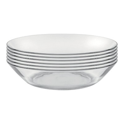 Duralex Lys Calotte 8 Inch Circle Clear Tempered Glass Plate Dinnerware Set for Salad, Pasta, Dessert, Set of 6