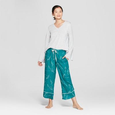 Women's Floral Print Pajama Set - Gilligan & O'Malley™ Gray L