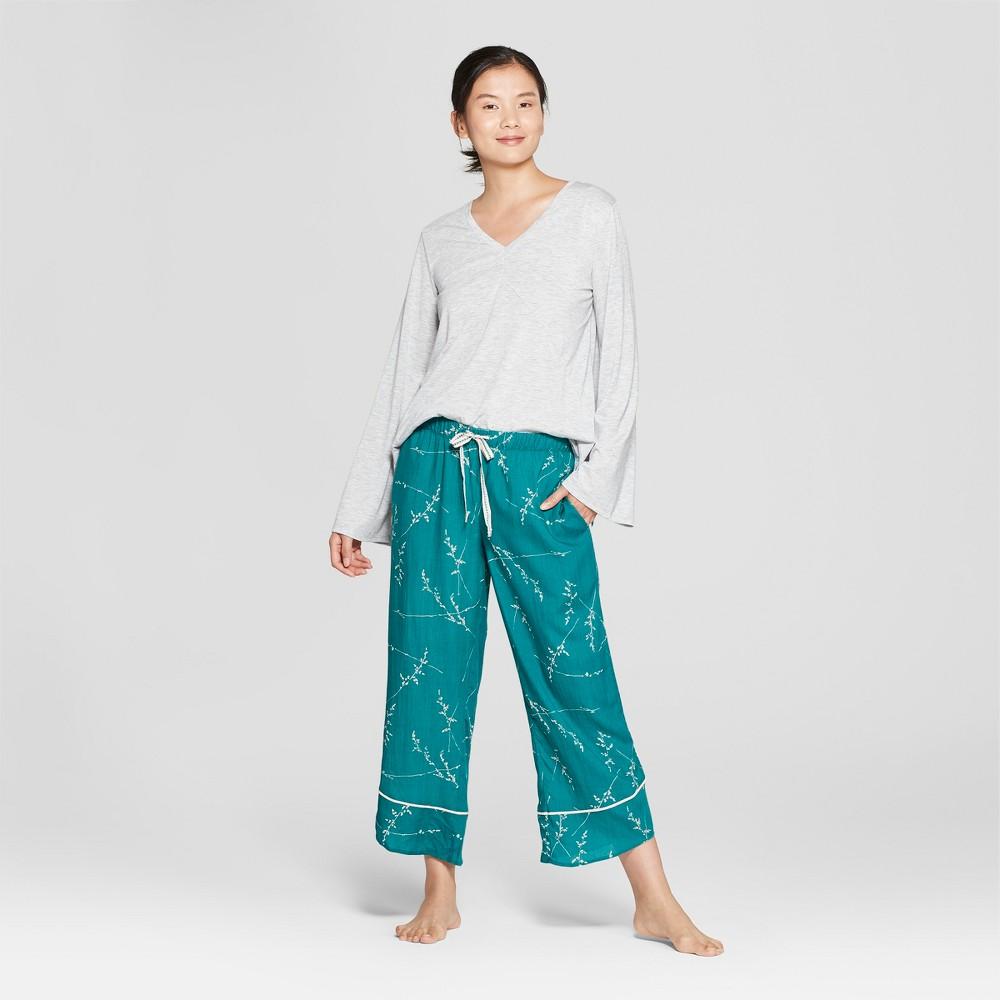 Women's Floral Print Pajama Set Gray XS