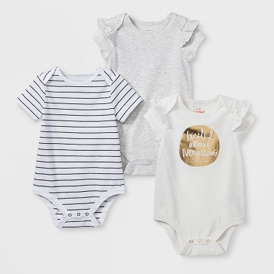 Baby Girls' 3pk Short Sleeve Bodysuit Set - Cat & Jack™ White/Gray 0-3M