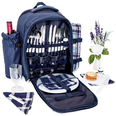 Picnic Basket Backpack Set For 4 With Insulated Cooler, Detachable Wine Bottle Holder, Blanket, And Dinnerware