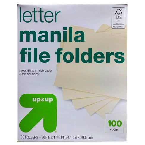 Essentials File Folders - 1/3 Cut Top Tab, Letter, Manila, 100/Box - Up&Up™ - image 1 of 1