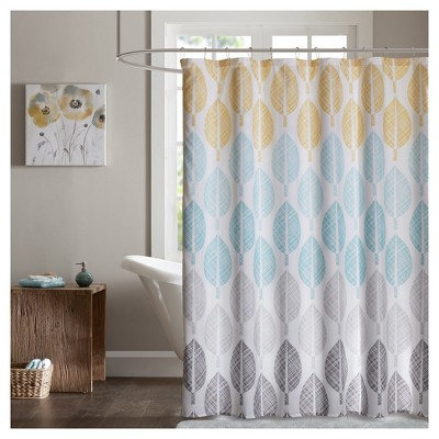 Prospect Park Printed Shower Curtain - Yellow/Aqua