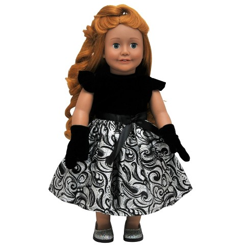 "The Queen's Treasures® 18"" Doll Clothes Black Velvet & Metallic Silver Dress with Gloves - image 1 of 4"