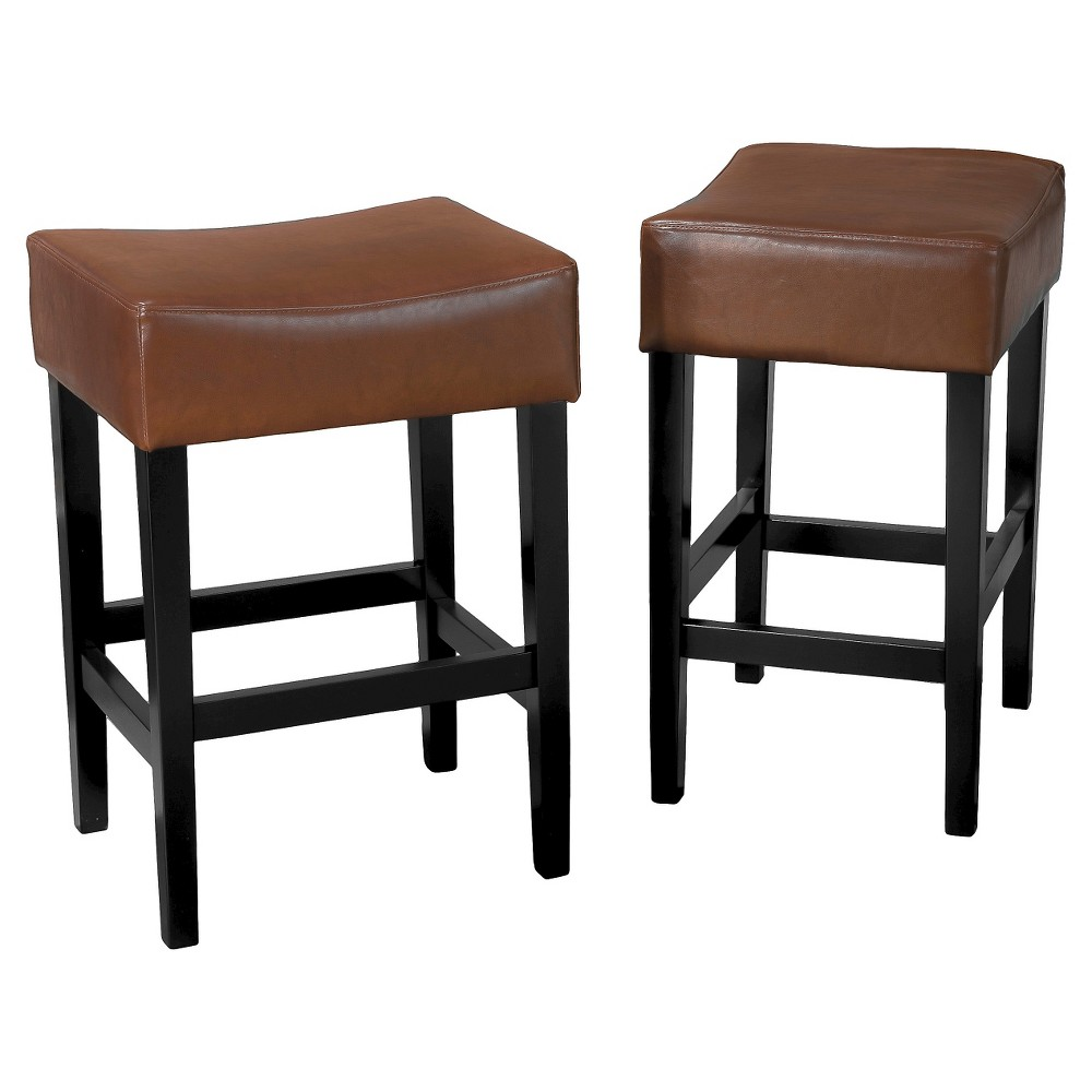 Set of 2 25.5 Lopez Backless Leather Counter Stool Light Brown - Christopher Knight Home was $106.99 now $69.54 (35.0% off)