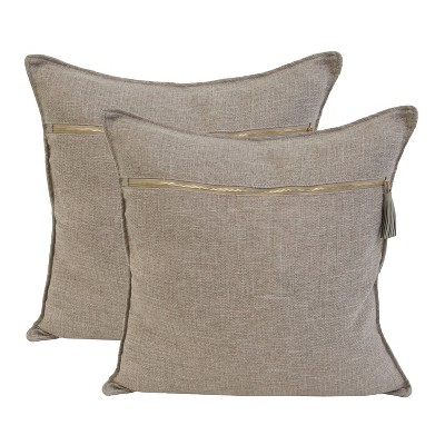 """2pk 20"""" Dupont Chunky Weave Zippered Front Pillow Tan - Dcor Therapy : Target"""