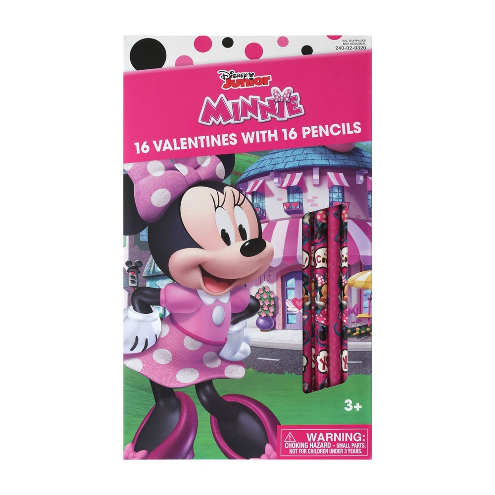 Image of Disney Minnie Mouse 16ct Valentines With Pencils