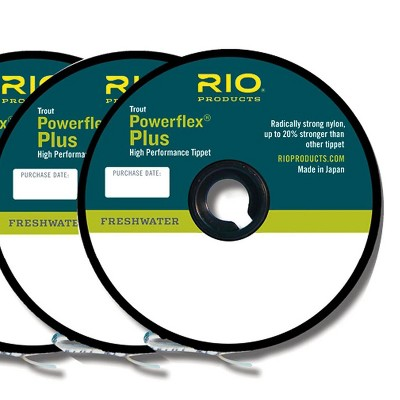 Rio Products 6-22197 Powerflex Plus Nylon Fly Fishing Tippet Tackle Line Accessory with High Knot Strength, Size 3X-5X, Clear (3 Pack)