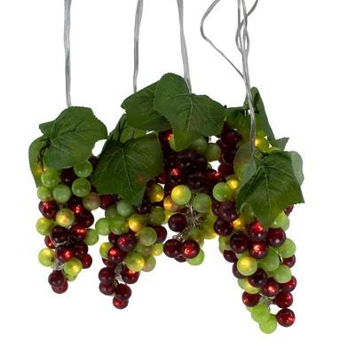 Kurt Adler 100-Light Green and Burgundy LED Grape Light Set with 5 Grape Bunches