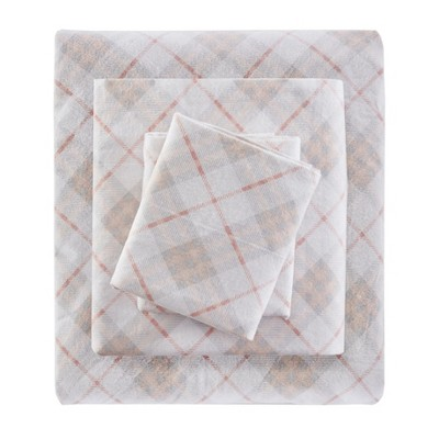 Flannel Sheet Set (King)4pc Pink Plaid 100 Thread Count