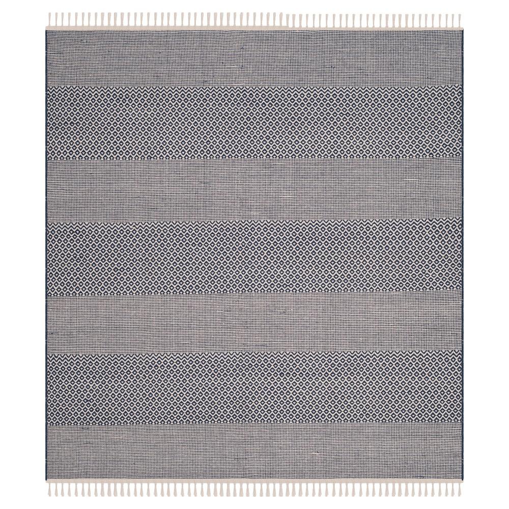 Ivory/Navy (Ivory/Blue) Geometric Flatweave Woven Square Area Rug 6'X6' - Safavieh