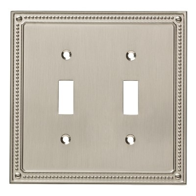 Franklin Brass Classic Beaded Double Switch Wall Plate Nickel