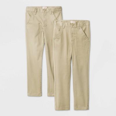 Boys' 2pk Flat Front Stretch Uniform Chino Pants - Cat & Jack™ Khaki