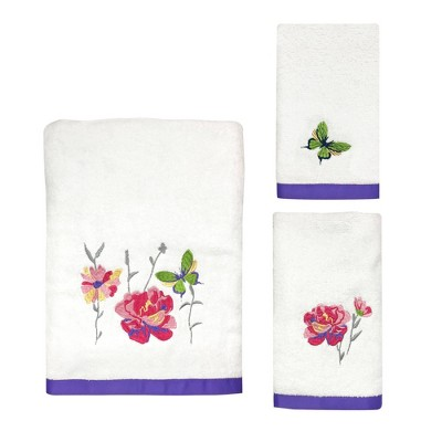 3pc Garden Fall Towel Set White - Allure Home Creation