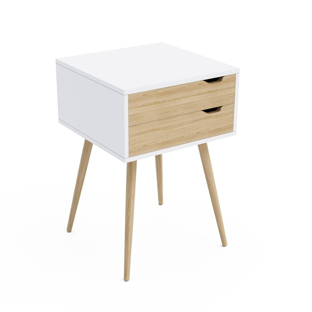 Image of Blythe 2 Drawer Pocket Side Table White - Jamesdar
