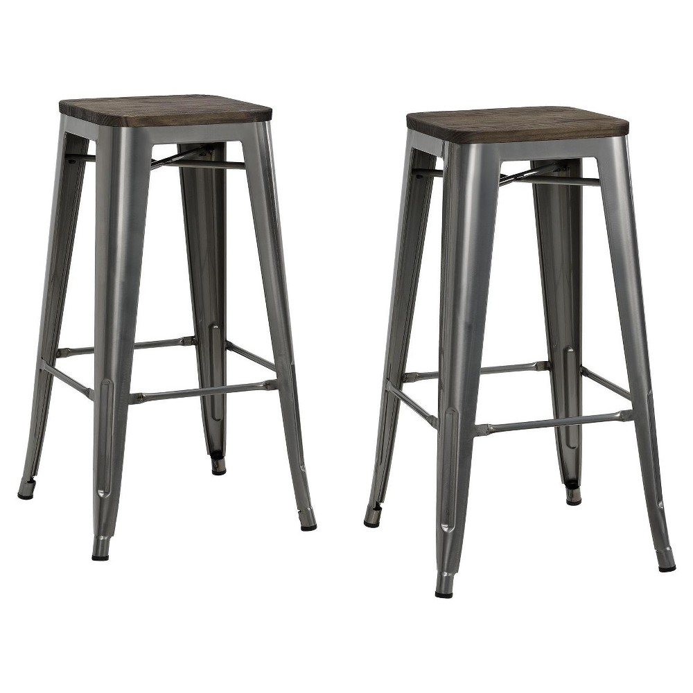 "Image of ""30"""" Fusion Metal Backless Bar Stool with Wood Seat (Set of 2) - Gun Metal - Dorel Home Products, Gun Grey"""
