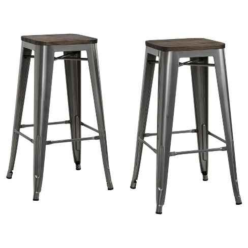 Fusion 30 Metal Backless Bar Stool With Wood Seat Set Of 2