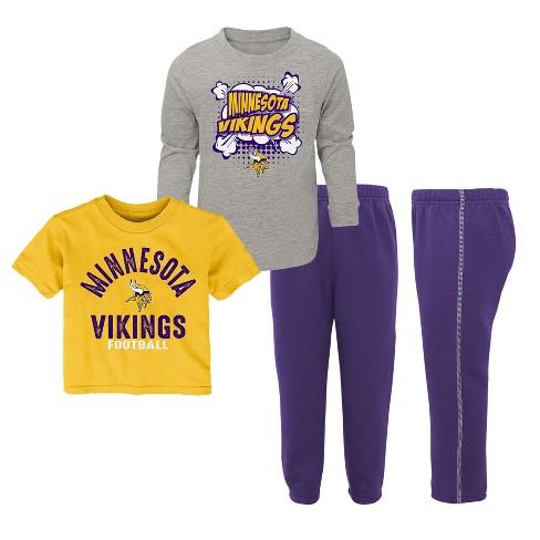NFL Minnesota Vikings Toddler Gametime Fun 3pk Shirt  Pants Set   Target 03977ef6a