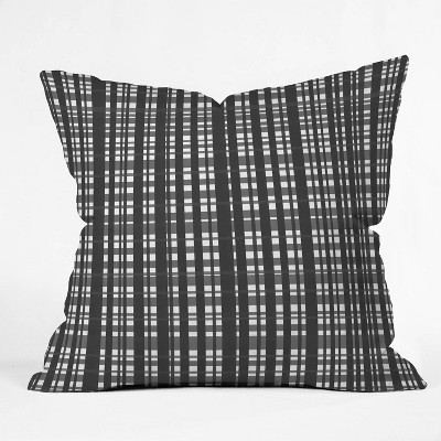 """16""""x16"""" Lisa Argyropoulos Holiday Plaid Modern Coordinate Square Throw Pillow Black/White - Deny Designs"""