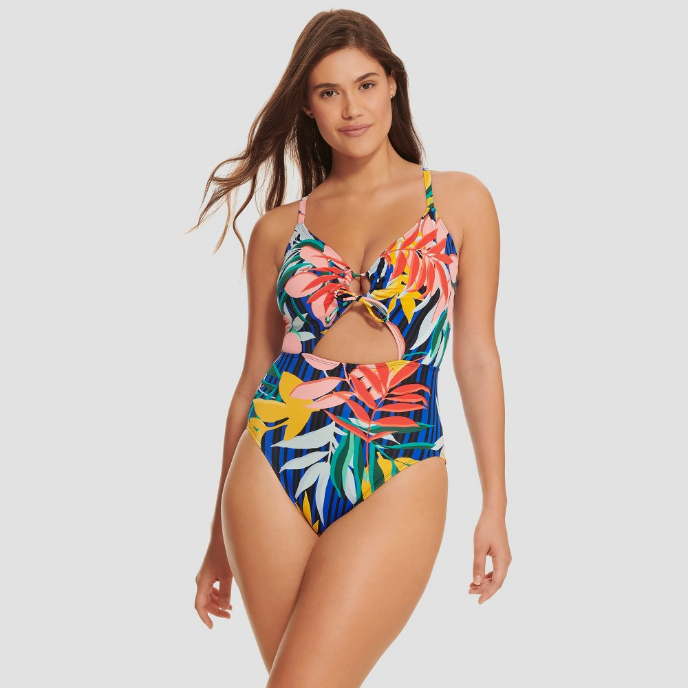 Women's Slimming Control Cut Out Ring One Piece Swimsuit - Beach Betty by Miracle Brands XL, Multicolored