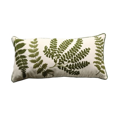 Cotton Fern Embroidered Bolster Pillow - 3R Studios