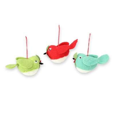 """Raz Imports 3ct Birds and Holly Berry Christmas Ornament Set 5"""" - Red/Green"""