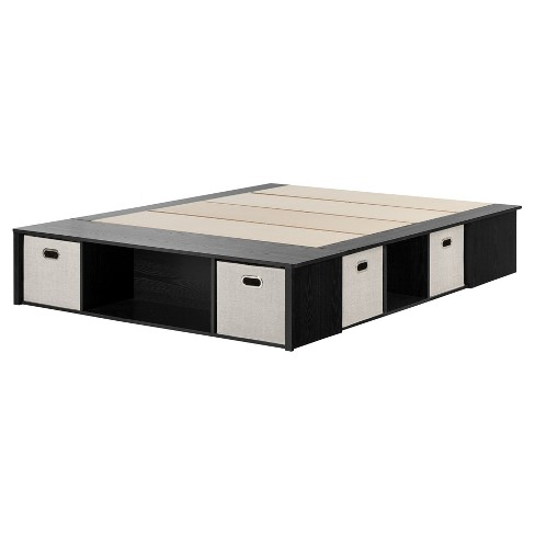 Flexible Platform Bed with Storage and Baskets - Queen - Black Oak - South Shore - image 1 of 4