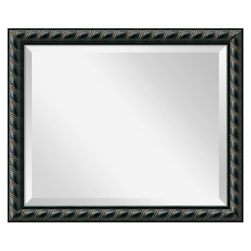 Rectangle Pequot Decorative Wall Mirror Black - Amanti Art - image 1 of 9