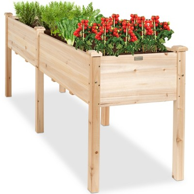 Best Choice Products 72x24x30in Raised Garden Bed, Elevated Wood Planter Box Stand for Backyard, Patio w/ Divider Panel