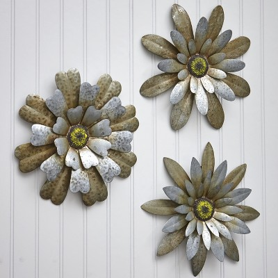 Lakeside Rustic Galvanized Metal Hanging Wall Flowers Decor - Floral Indoor Accents - Set of 3