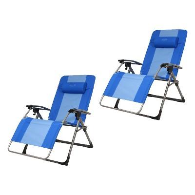 Kamp-Rite KAMPAC186 Outdoor Furniture Camping Beach Patio Sports Oversized Anti Gravity Folding Reclining Chair, Blue (2 Pack)
