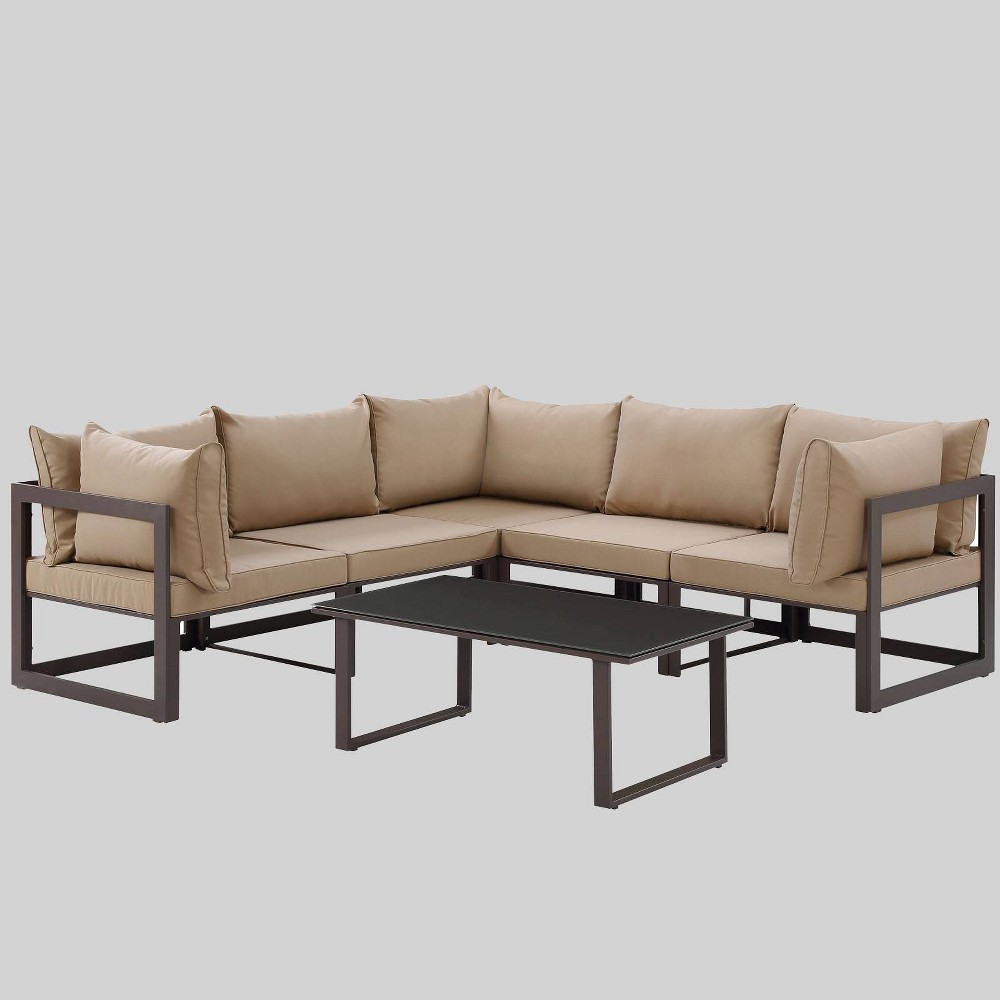 Fortuna 6pc Outdoor Patio Sectional Sofa Set - Mocha (Brown) - Modway
