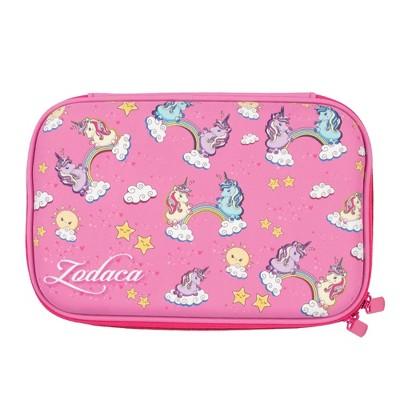 Zodaca Unicorn Pencil Case Pouch, Girls School Supplies Stationery, Pink