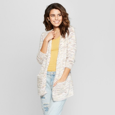 Women's Long Sleeve Cable Knit Cardigan - Almost Famous (Juniors') Ivory M - image 1 of 2