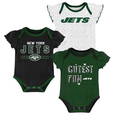 NFL New York Jets Baby Girls' Bodysuit Set 3pk - 6-9M