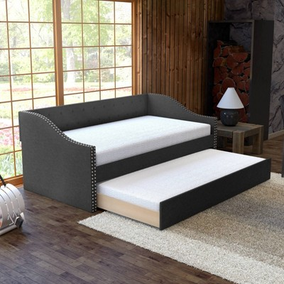 Twin Nora Tufted Linen with Nail Button Trim Upholstered Day Bed and Roll Out Trundle Frame Set - Eco Dream